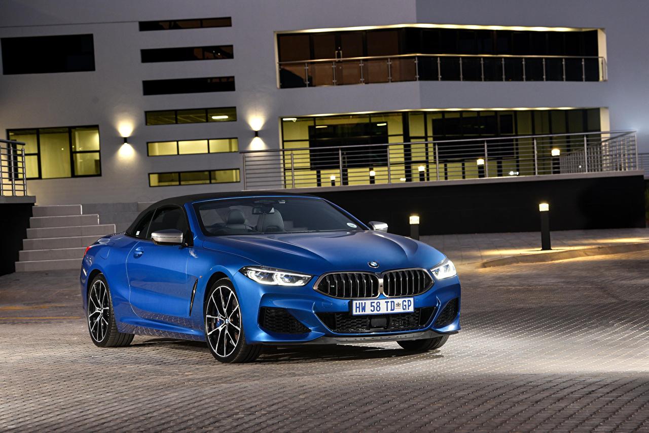 Фото BMW 2019 M850i xDrive кабриолета синяя автомобиль БМВ Кабриолет синих синие Синий авто машина машины Автомобили