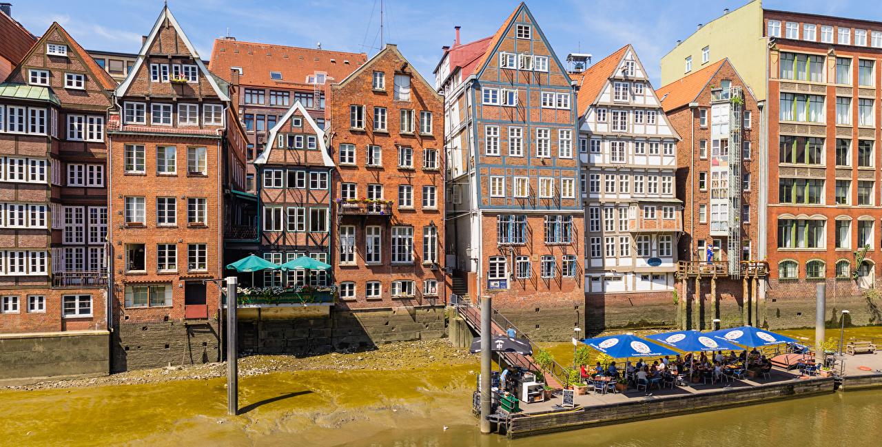 Обои Гамбург Германия Кафе улице Дома Города улиц Улица город Здания