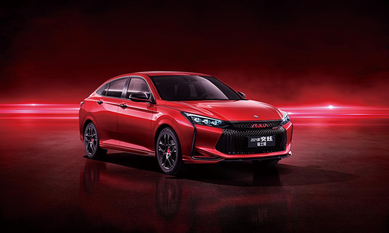 Картинка Китайские Dongfeng Aeolus Yixuan CTCC Edition, 2021 красных Металлик Автомобили красном фоне китайский китайская красная красные Красный авто машины машина автомобиль Красный фон