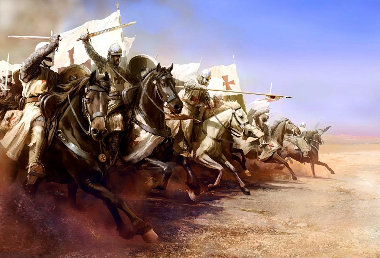 Фото Мечи Копья Лошади Рыцарь Доспехи Бег November 25, 1177 The battle of Mongitore, The attack of the Templars Фантастика броня Фэнтези