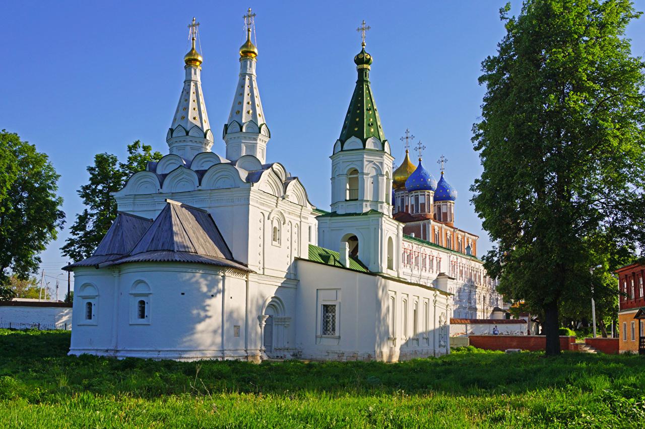 Фотография Церковь Россия Ryazan Трава Храмы Города