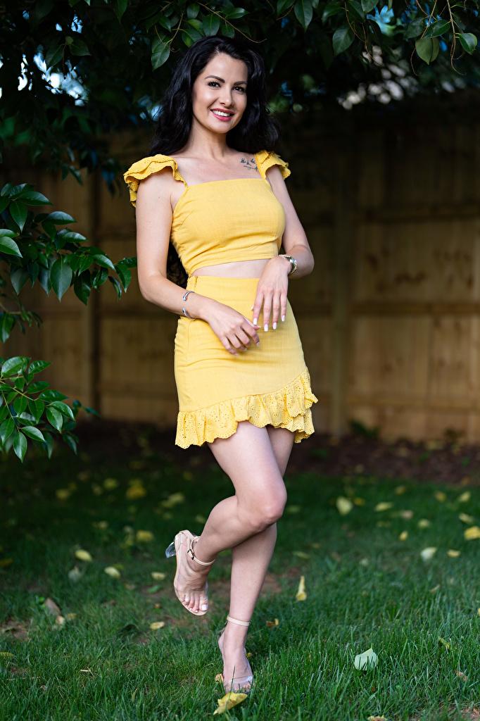 Фотография Девушки Victoria Bell брюнеток Улыбка смотрят позирует ног  для мобильного телефона девушка молодая женщина молодые женщины брюнетки Брюнетка улыбается Взгляд смотрит Поза Ноги
