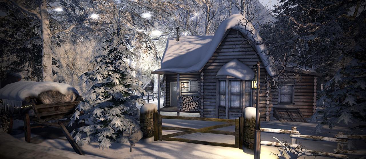Фотографии Ель зимние 3D Графика Снег Забор Деревянный Дома Зима ограда Здания