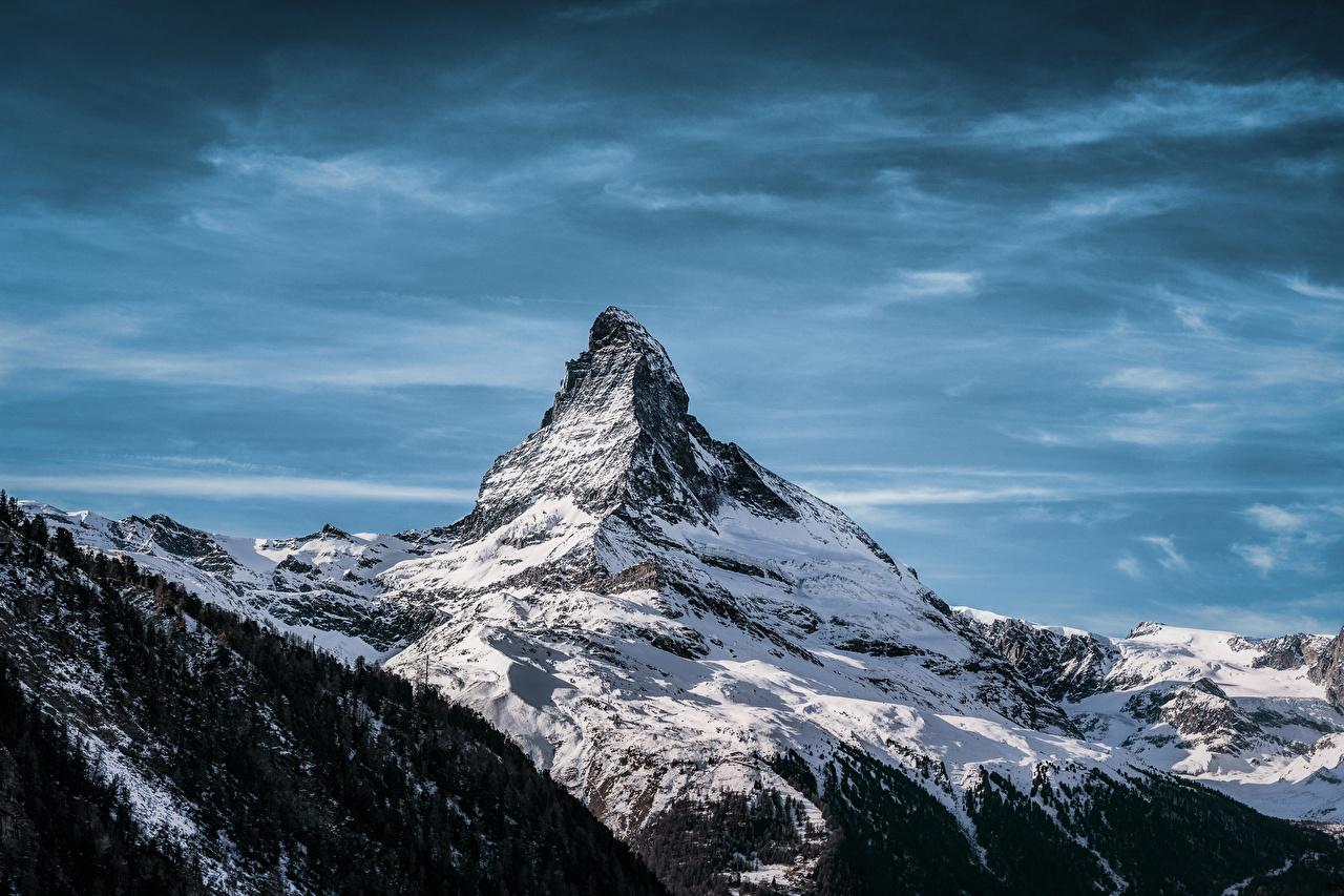 Картинки Альпы Швейцария Matterhorn, Valais Горы Природа Снег альп гора снега снегу снеге