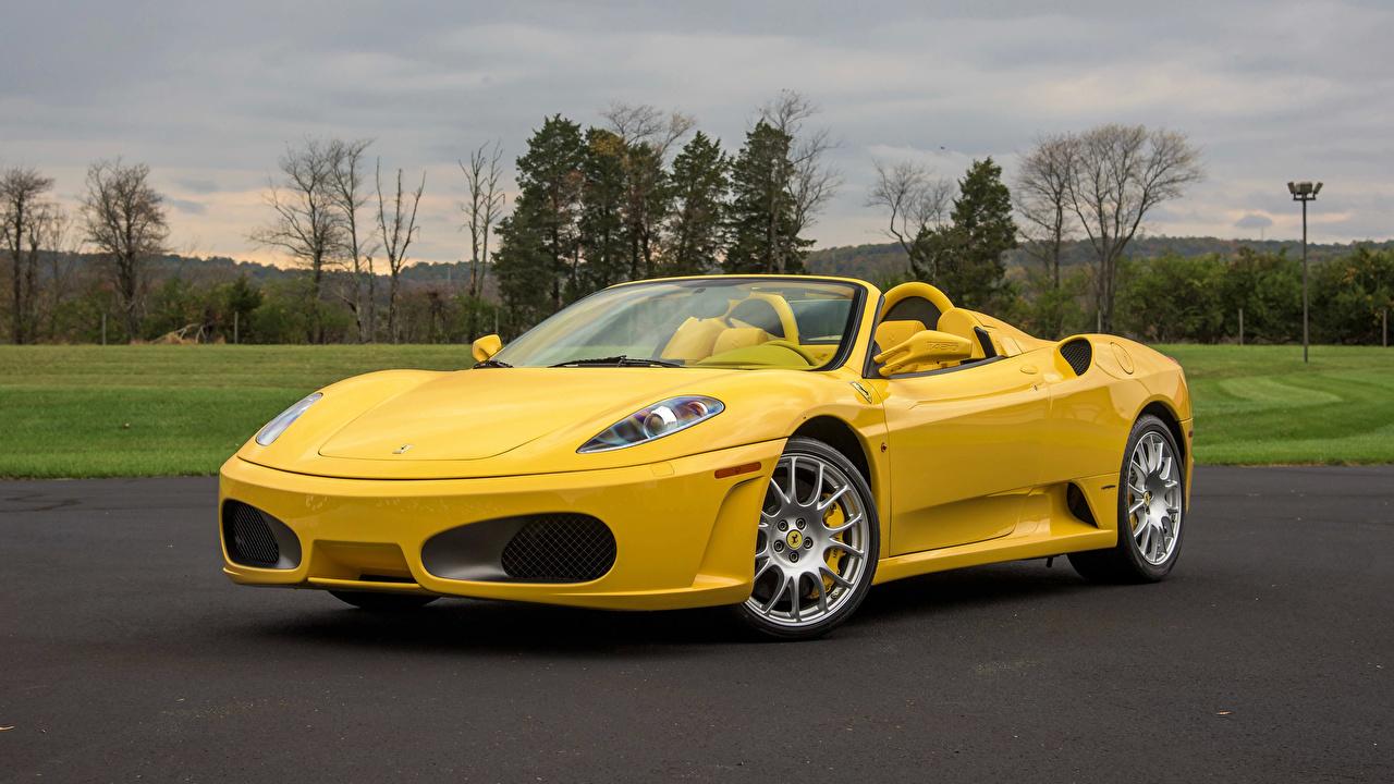 Фото авто Ferrari 2005-09 F430 Spider Металлик Pininfarina Желтый Родстер машина машины автомобиль Автомобили Феррари желтых желтые желтая