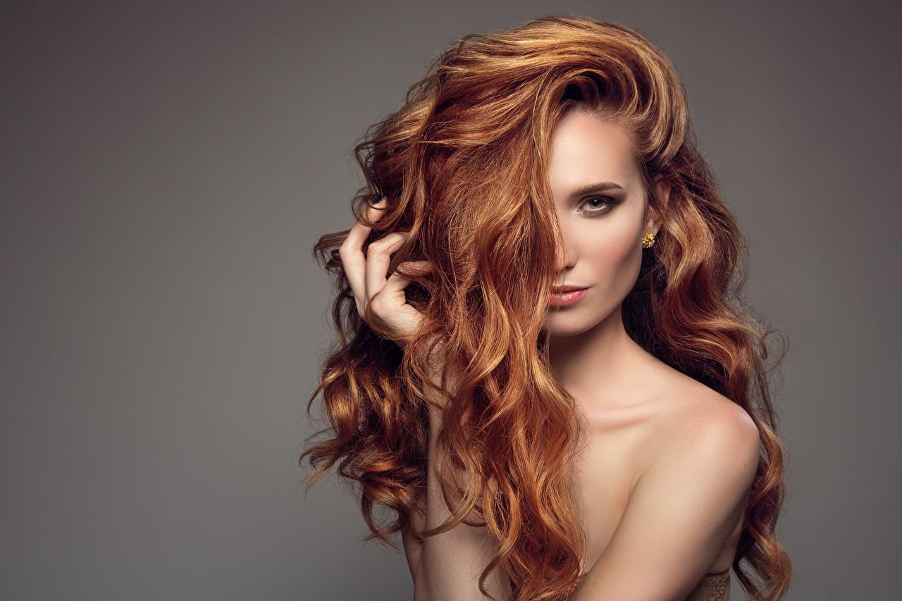 Фотография Рыжая Модель Причёска Волосы Девушки Взгляд сером фоне рыжих рыжие фотомодель прически волос девушка молодые женщины молодая женщина смотрит смотрят Серый фон