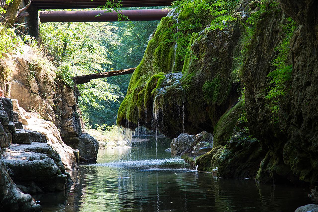 Картинки Румыния Cascade Bigar Скала Природа Водопады Мох Реки Утес речка