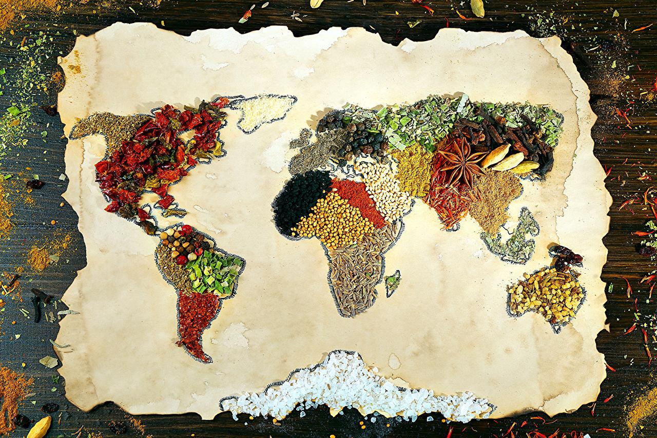 Фото Карты Специи Продукты питания Дизайн Еда Пища пряности приправы