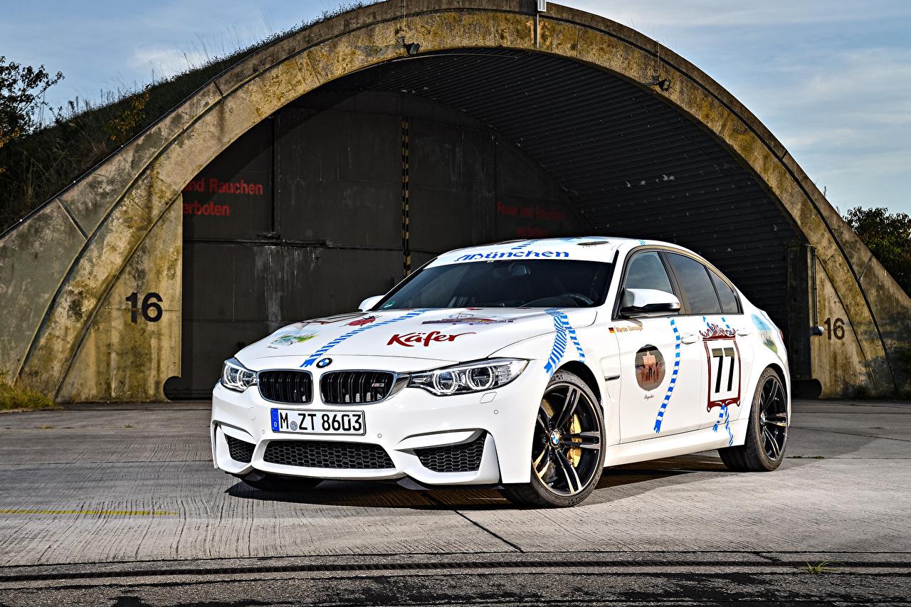 Фото BMW Тюнинг 2015 M3 Münchner Wirte Белый Автомобили БМВ Стайлинг белых белые белая авто машина машины автомобиль
