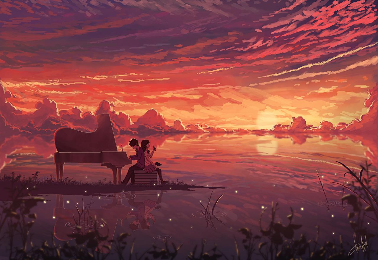 Картинки пианина donsaid dias mardianto Аниме молодые женщины рассвет и закат Пианино фортепиано девушка Девушки молодая женщина Рассветы и закаты