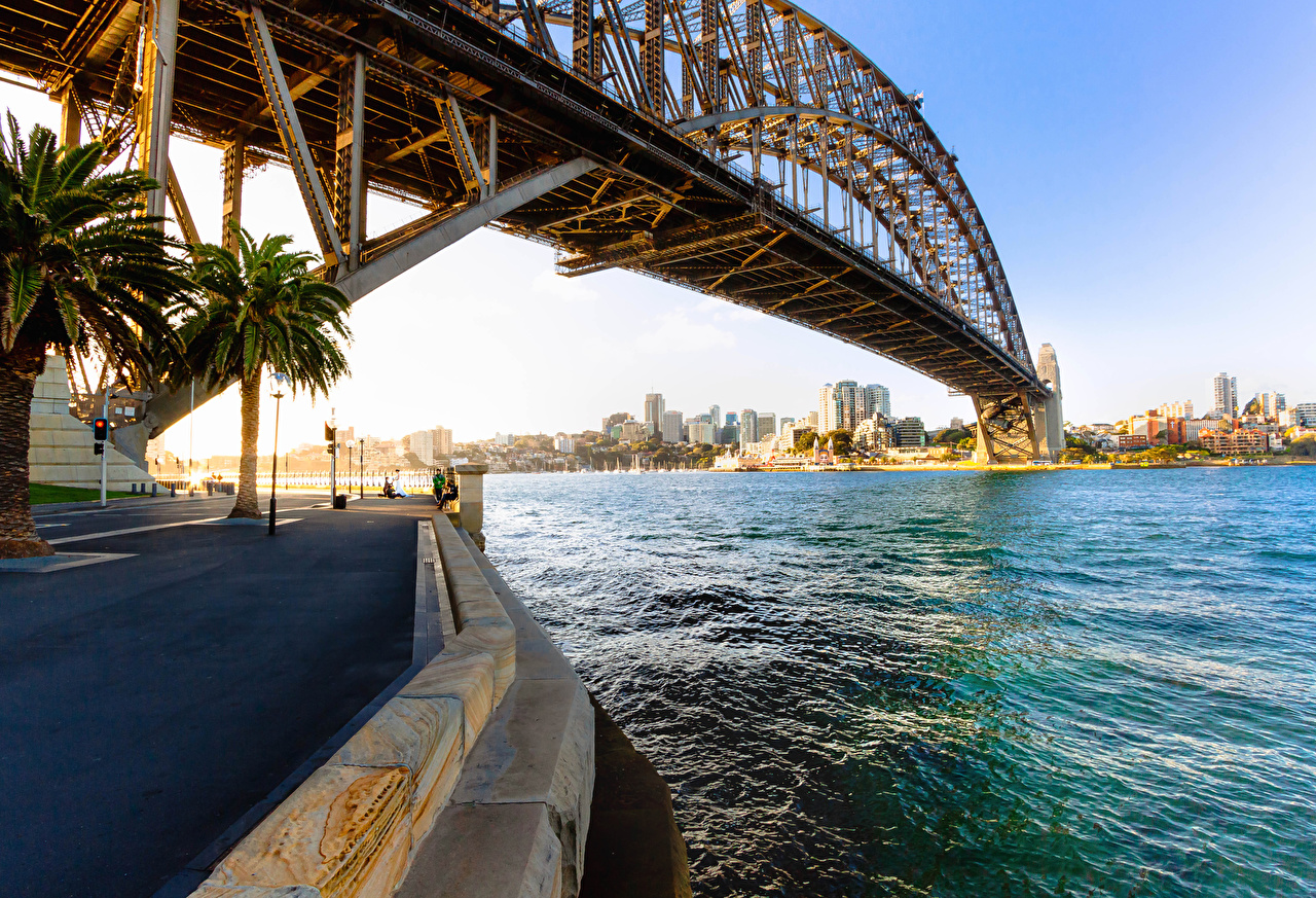 Картинка Сидней Австралия Sydney Harbour Bridge мост залива Уличные фонари Города Мосты Залив заливы город