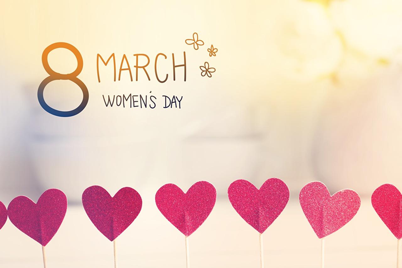 Обои для рабочего стола Международный женский день Английский Сердце Праздники 8 марта инглийские английская серце сердца сердечко