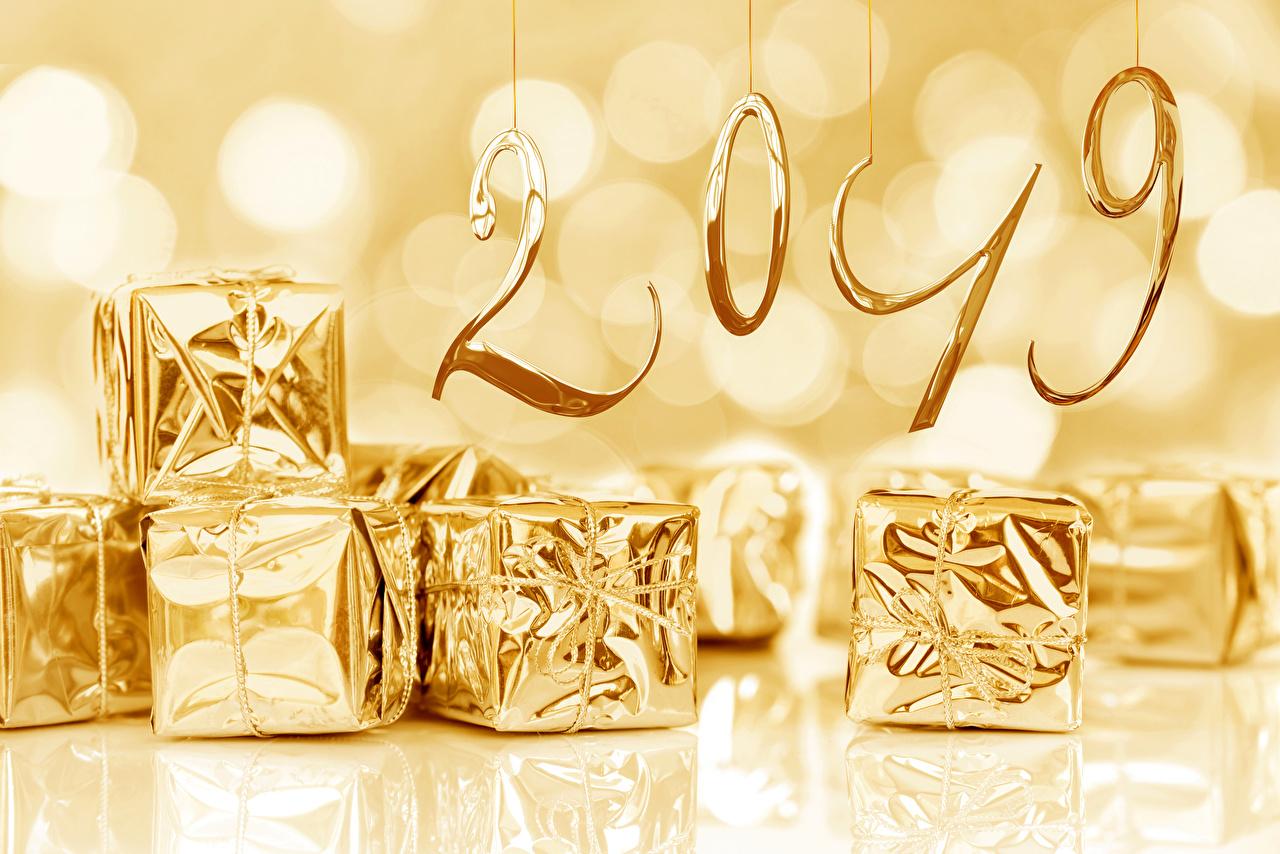 Фотографии 2019 Рождество Золотой Подарки Новый год