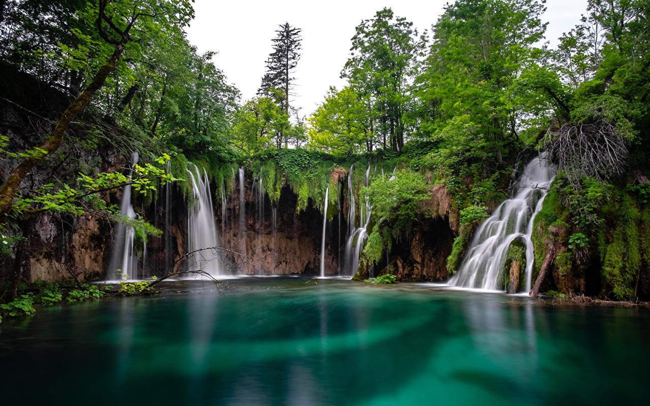 Фото Хорватия Plitvice lakes Природа Водопады Парки Озеро парк