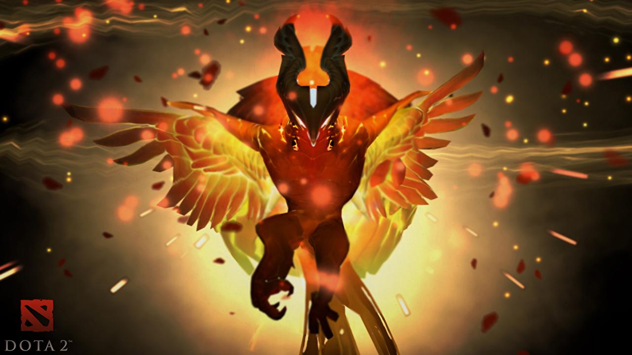Фото Фантастика DOTA 2 Phoenix Птицы компьютерная игра Феникс Сверхъестественные существа Фэнтези Феникс птица Игры