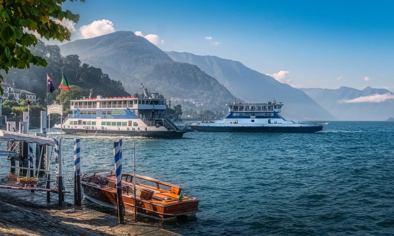 Фотографии Италия Bellagio at the Como Lake Горы Природа Озеро Речные суда Причалы гора Пирсы Пристань