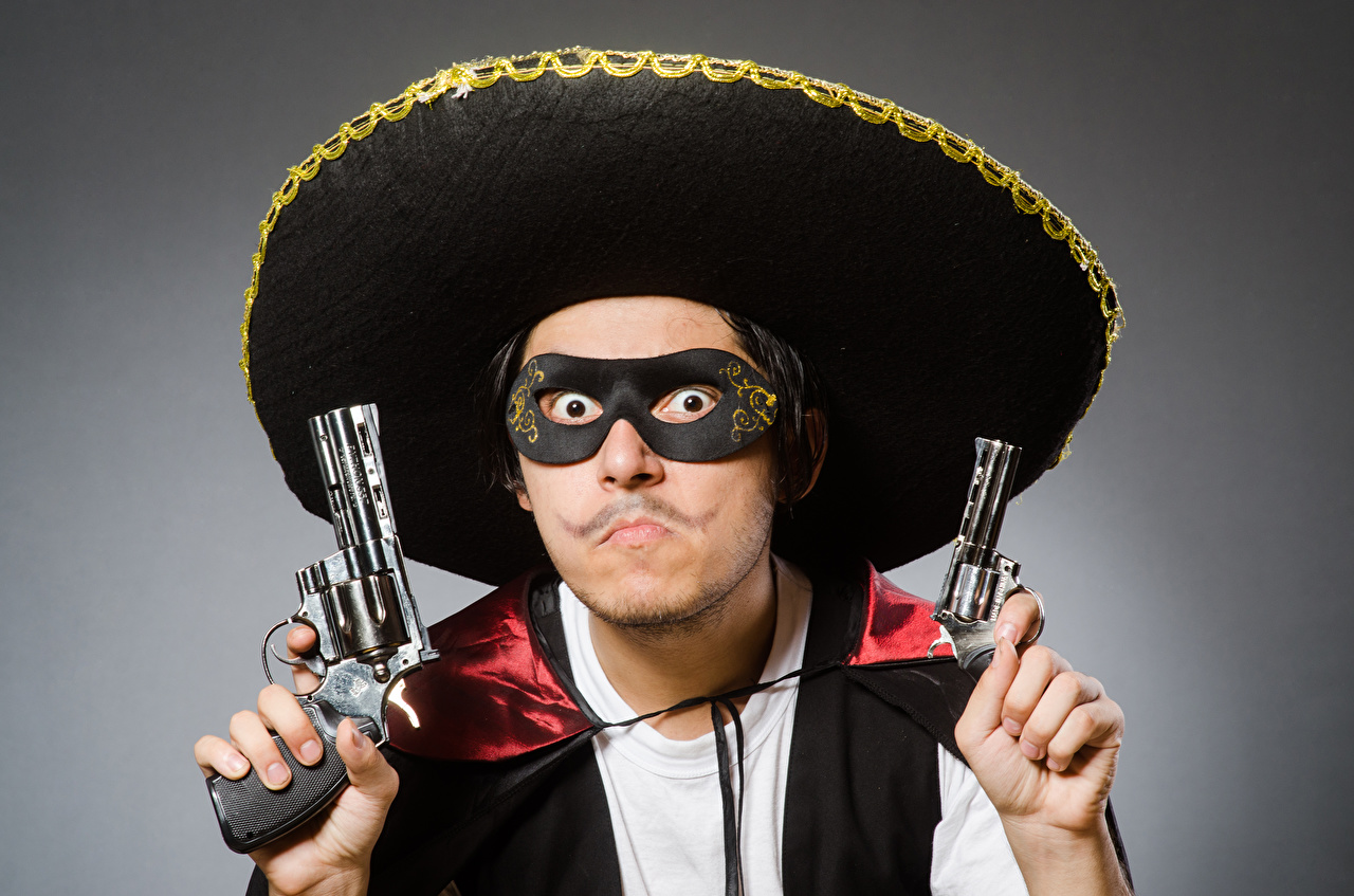 Картинка Револьвер Пистолеты Мужчины Шляпа Маски смотрит Серый фон Взгляд