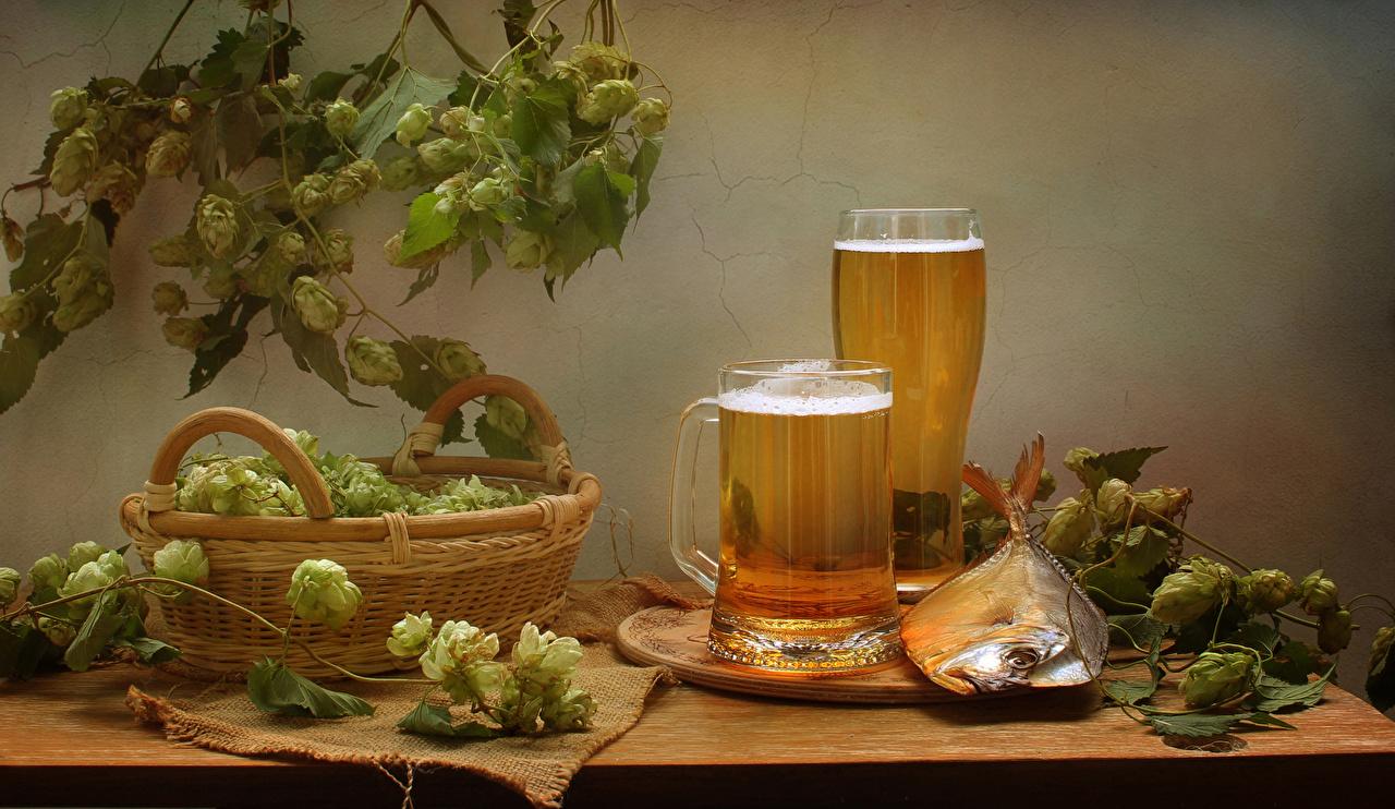 Фото Пиво Хмель Рыба Стакан Корзина кружки Продукты питания Натюрморт стакана стакане корзины Корзинка Еда Пища кружке Кружка