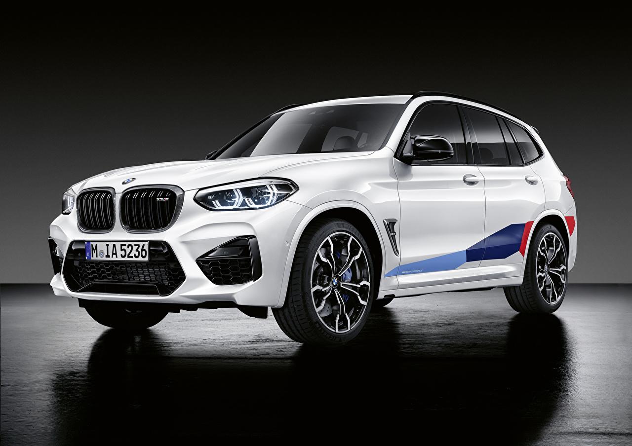 Фотографии БМВ CUV 2019 X3 M M Performance Parts Worldwide белая Автомобили BMW Кроссовер Белый белые белых авто машины машина автомобиль