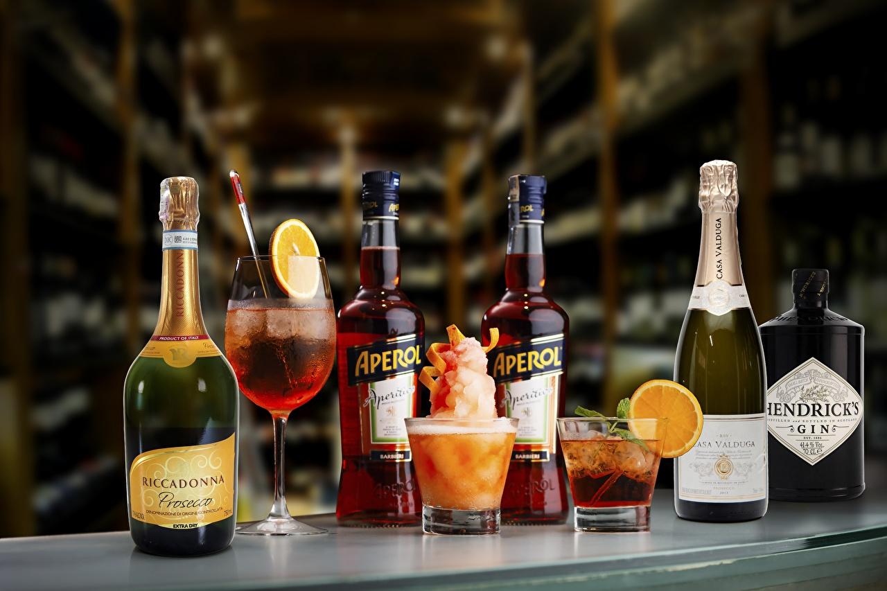 Картинка GIN aperol casa valduga riccadonna Вино Игристое вино стакане Бокалы бутылки Коктейль Шампанское Стакан стакана бокал Бутылка