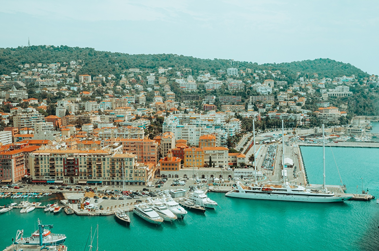 Обои для рабочего стола Франция Nice, Alpes-Maritimes Корабли Яхта Пирсы Города корабль Причалы Пристань город