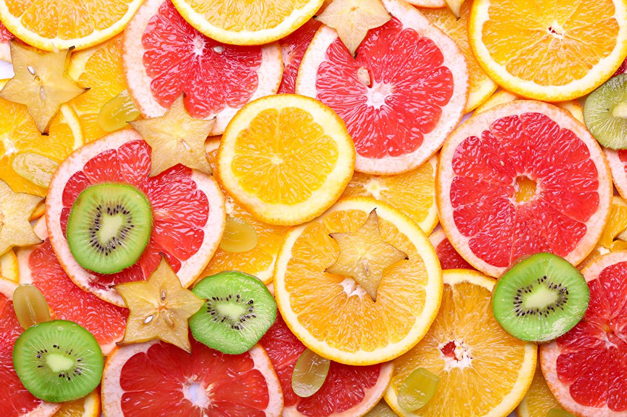 Обои для рабочего стола Текстура Апельсин Грейпфрут Киви Пища нарезка Цитрусовые Еда Продукты питания Нарезанные продукты