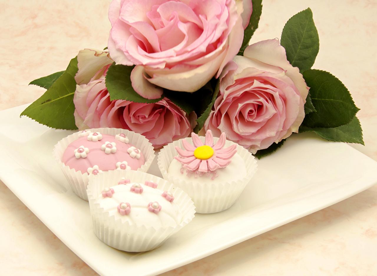 Картинки Розы Розовый Цветы Еда Пирожное Дизайн Пища Продукты питания