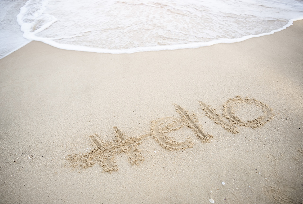 Фотографии Английский Hello Природа песка Слово - Надпись английская инглийские Песок песке слова текст