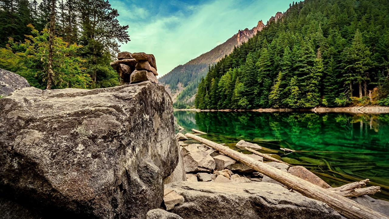 Фотография Канада Lindeman Lake Chilliwack Lake Provincial Park British Columbia Природа парк Озеро Камни Парки Камень
