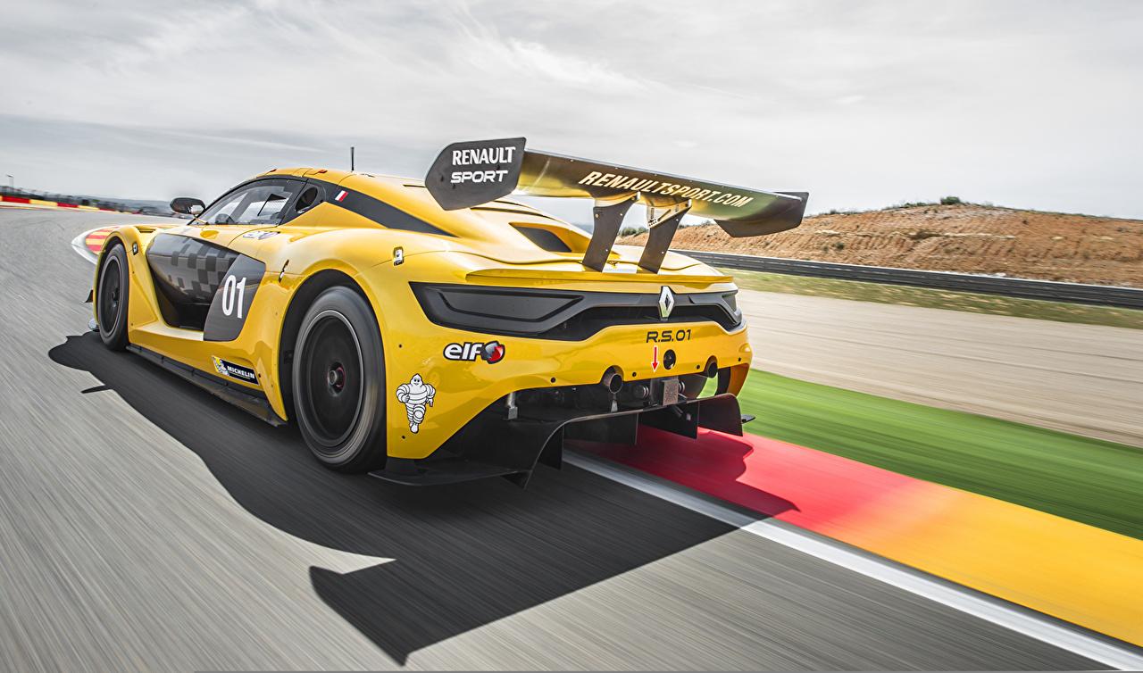 Фотография Renault 2014 Sport RS 01 желтых авто вид сзади Рено Желтый желтые желтая Сзади машина машины автомобиль Автомобили