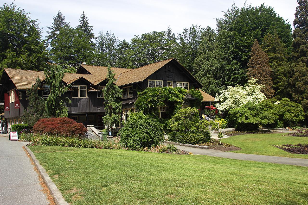 Фото Ванкувер Канада Stanley Park Природа Парки газоне Здания кустов Деревья парк Газон Дома Кусты дерево дерева деревьев