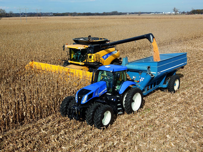 Картинки Сельскохозяйственная техника Зерноуборочный комбайн Трактор 2010-16 New Holland T8.390 Поля тракторы трактора