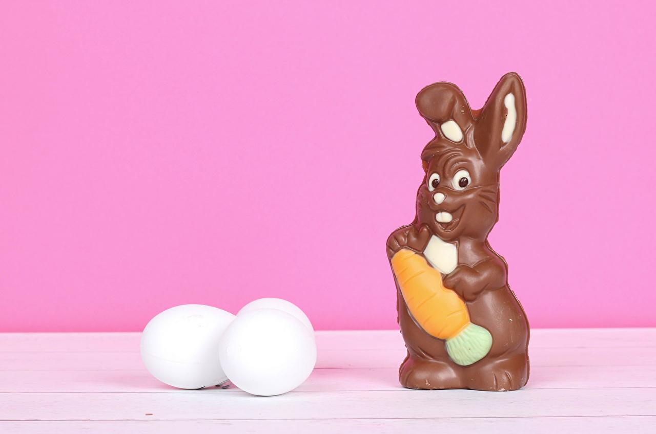 Фотография Пасха Кролики Шоколад Розовый фон Пища яйцами кролик Еда Продукты питания яиц яйцо Яйца