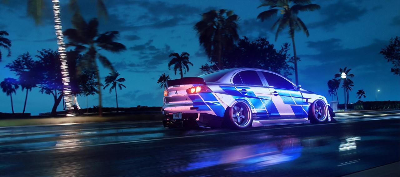 Фото Need for Speed Mitsubishi Heat, Lancer 2019 Игры едущая авто Сбоку Мицубиси едет едущий скорость Движение компьютерная игра машина машины автомобиль Автомобили