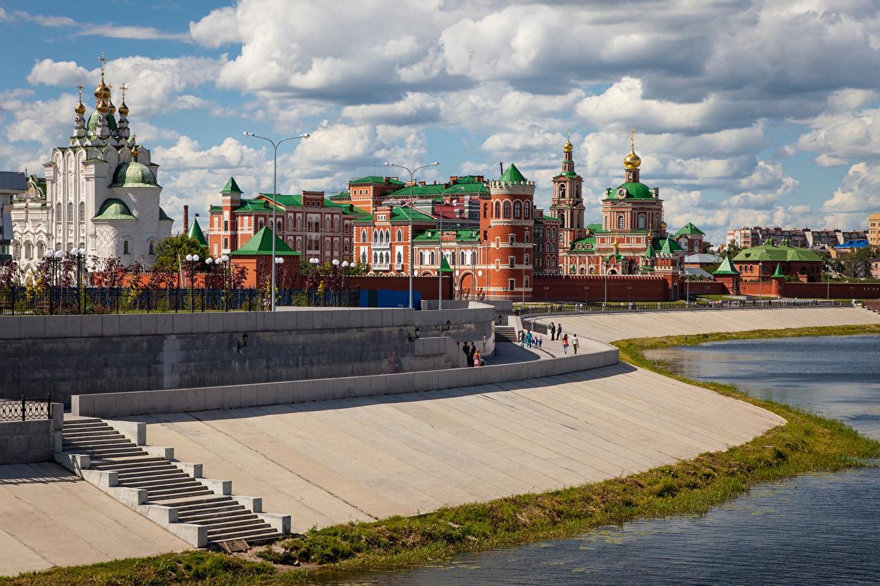 Фотография Церковь Россия Yoshkar-Ola лестницы храм город Лестница Храмы Города