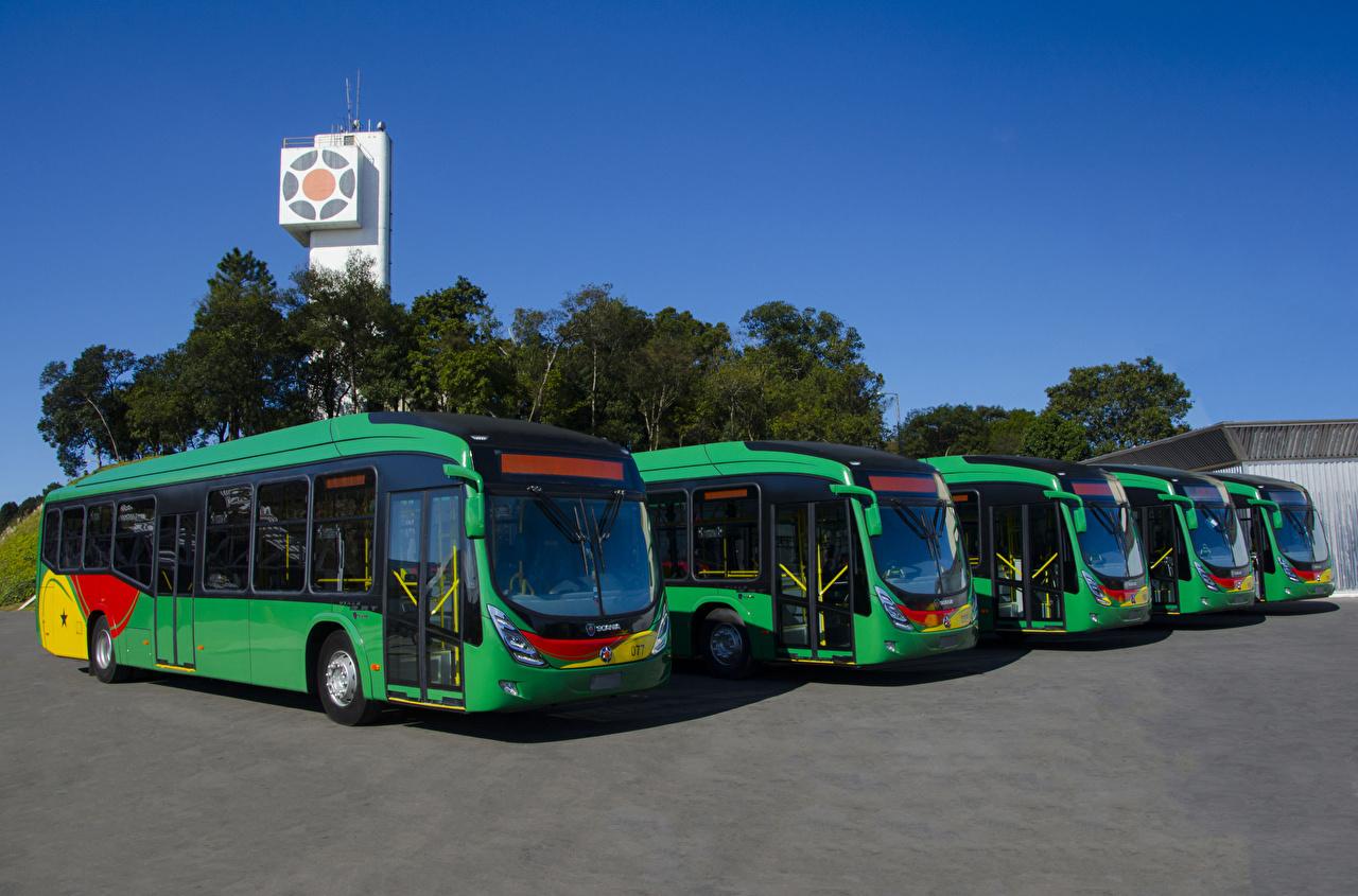 Фотография Автобус 2016-17 Marcopolo Viale BRT Scania K250 UB 4×2 Зеленый машины зеленых зеленые зеленая авто машина автомобиль Автомобили