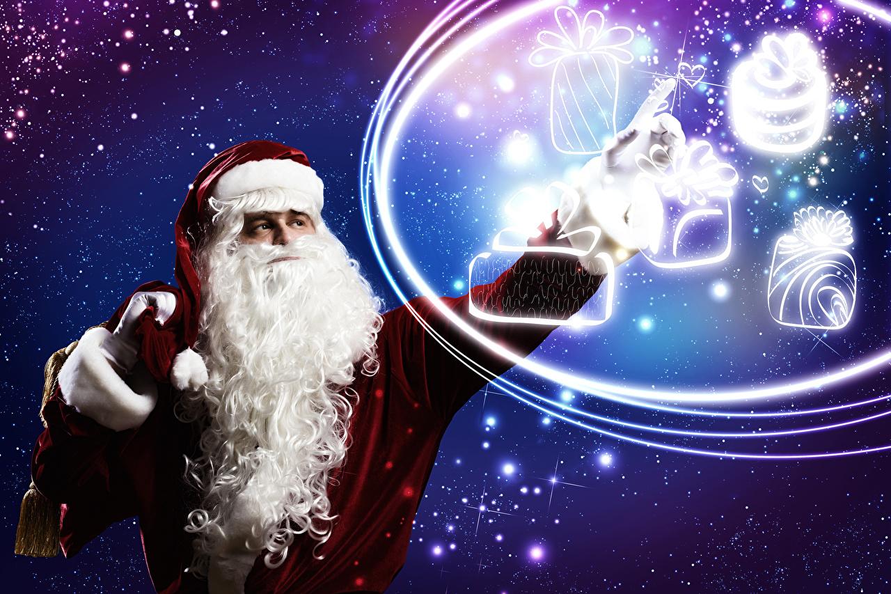 Фото Рождество бородатый Снежинки Санта-Клаус Униформа Новый год Борода бородой бородатые снежинка Дед Мороз униформе