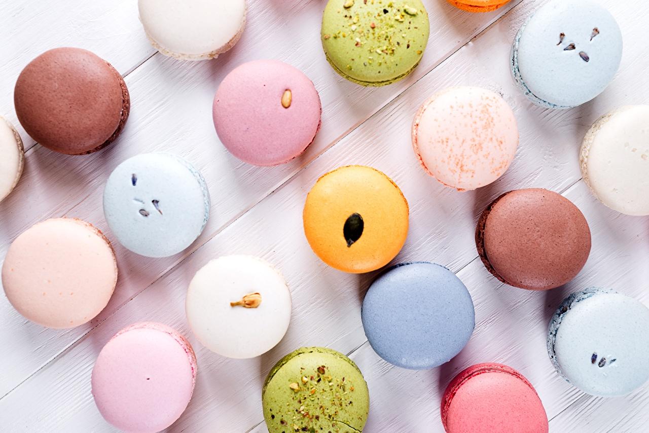Картинки Макарон Разноцветные Пища Печенье Еда Продукты питания