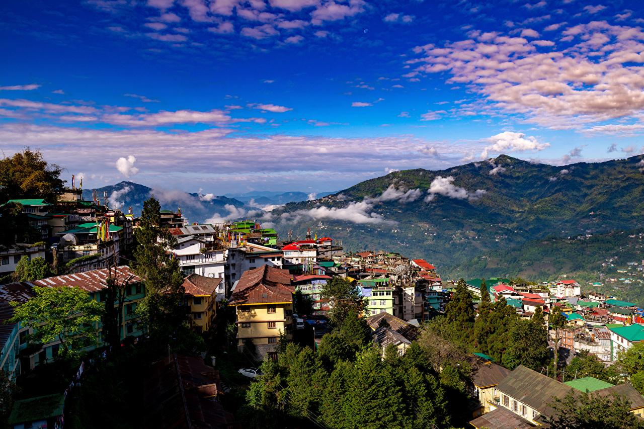 Фотография Индия Gangtok, Sikkim Горы Природа Небо Здания облачно гора Дома Облака облако