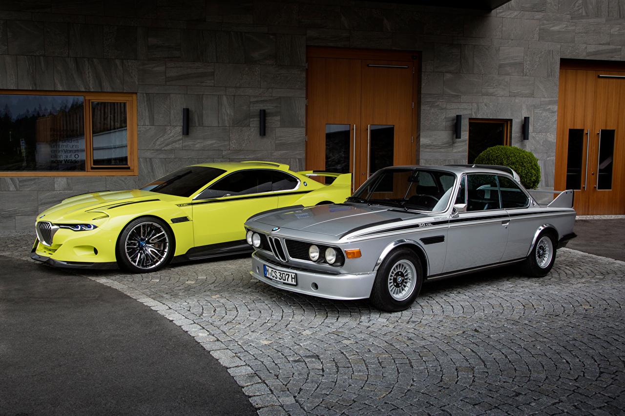 Картинка BMW 1968-75 E9 Двое старинные Машины БМВ 2 Ретро вдвоем Винтаж Авто Автомобили