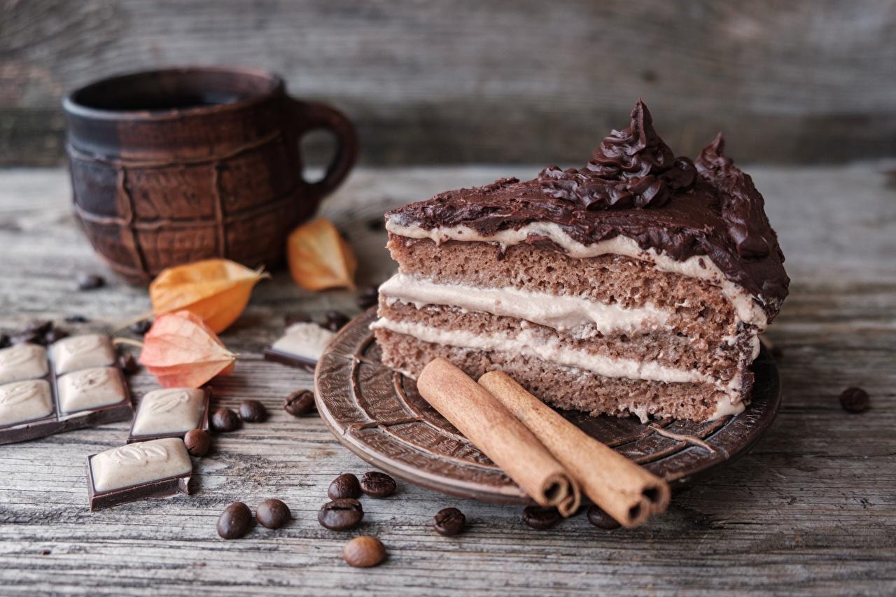 Картинка Шоколад Торты Корица кусочки Продукты питания часть Кусок кусочек Еда Пища