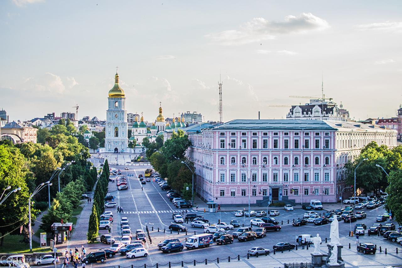 Картинка Киев Церковь Украина Улица Города Здания Дома