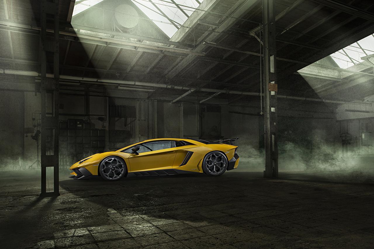 Фотография Ламборгини Aventador LP 750-4 SV Novitec Torado желтая Сбоку Автомобили Lamborghini желтых желтые Желтый авто машина машины автомобиль