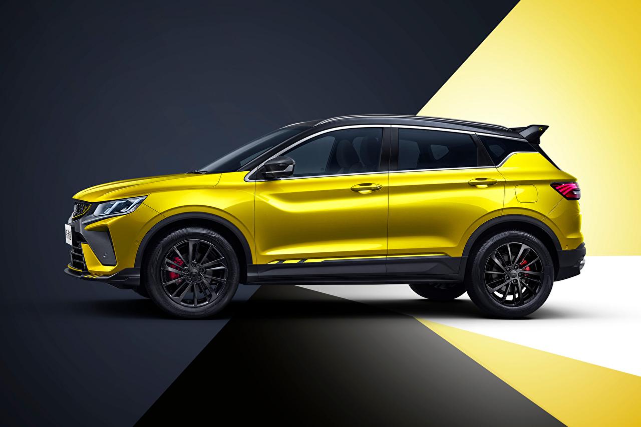 Фотография Geely китайская Кроссовер Bin Yue S 'Battle' (SX11), 2021 желтая Сбоку машины Металлик китайский Китайские CUV Желтый желтые желтых авто машина Автомобили автомобиль