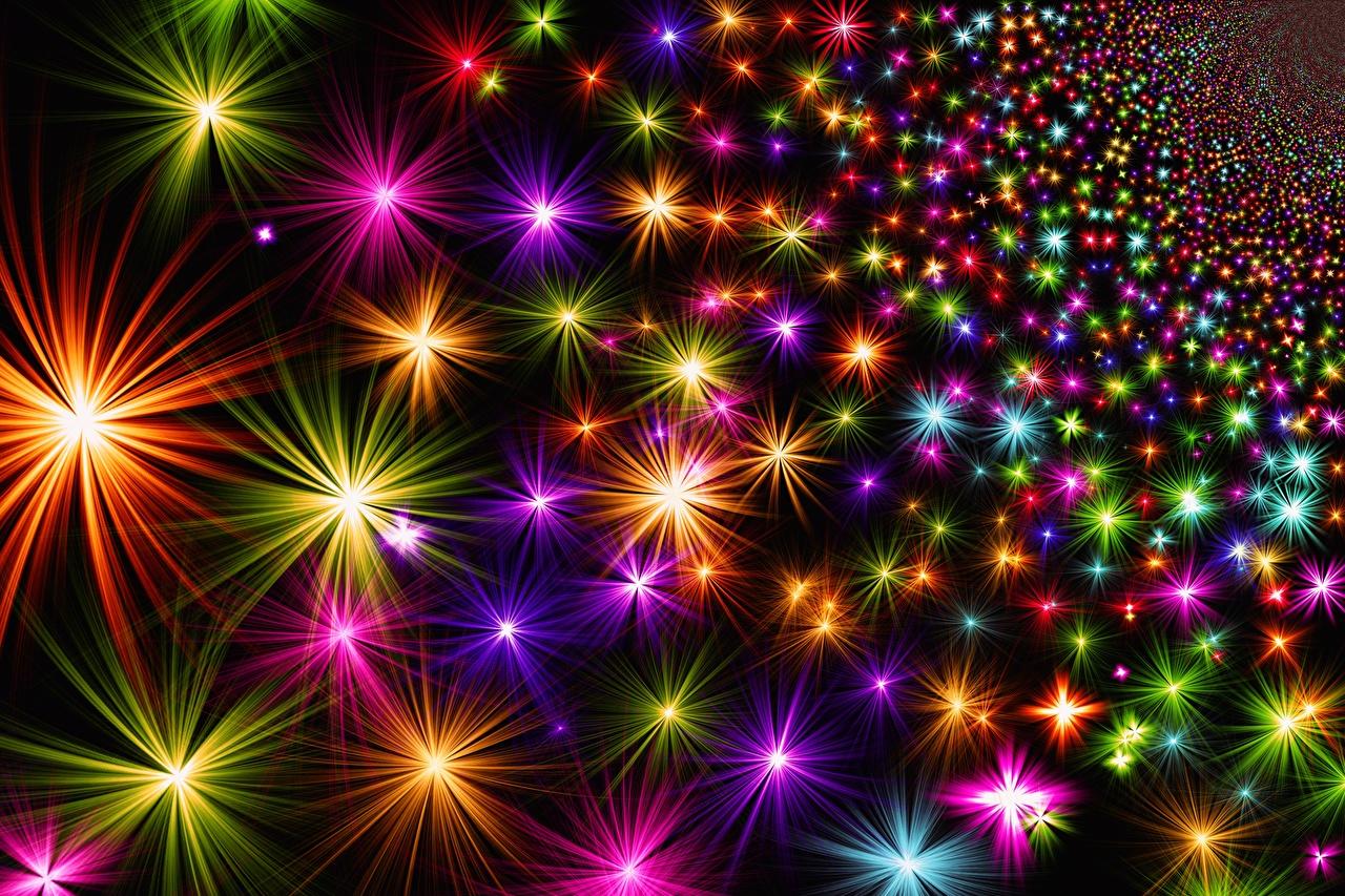 Фотография Лучи света Текстура Рождество Звездочки Разноцветные Новый год