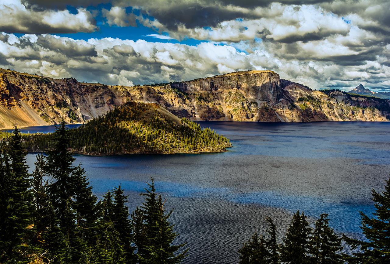 Картинки штаты Crater Lake National Park Oregon Ель Горы Природа парк Озеро США америка ели гора Парки