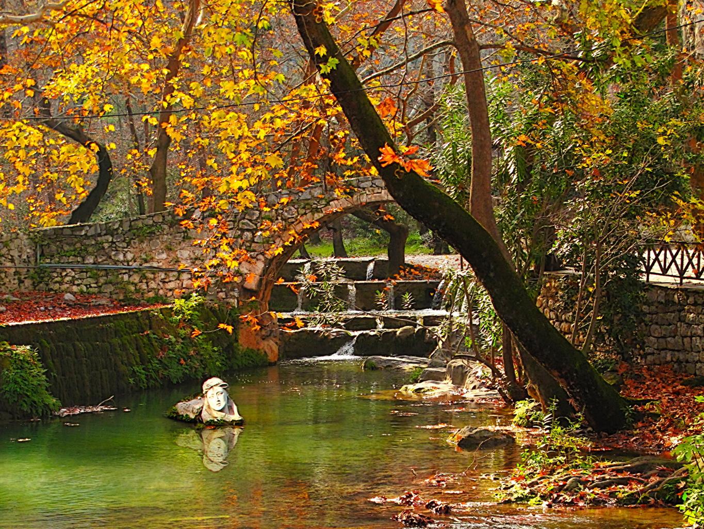 Картинка Греция Viotia Осень Мосты Природа Времена года мост осенние сезон года