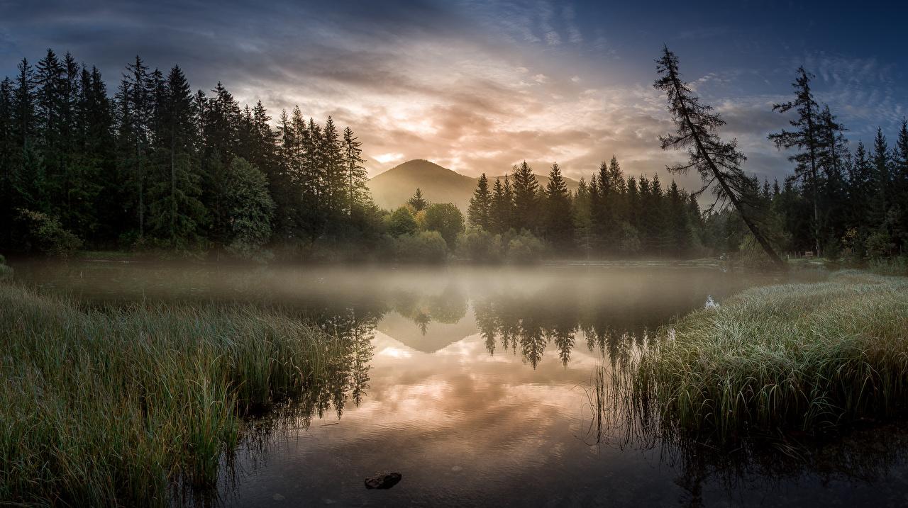 Фотографии Австрия Steiermark Туман Горы Природа Утро Озеро
