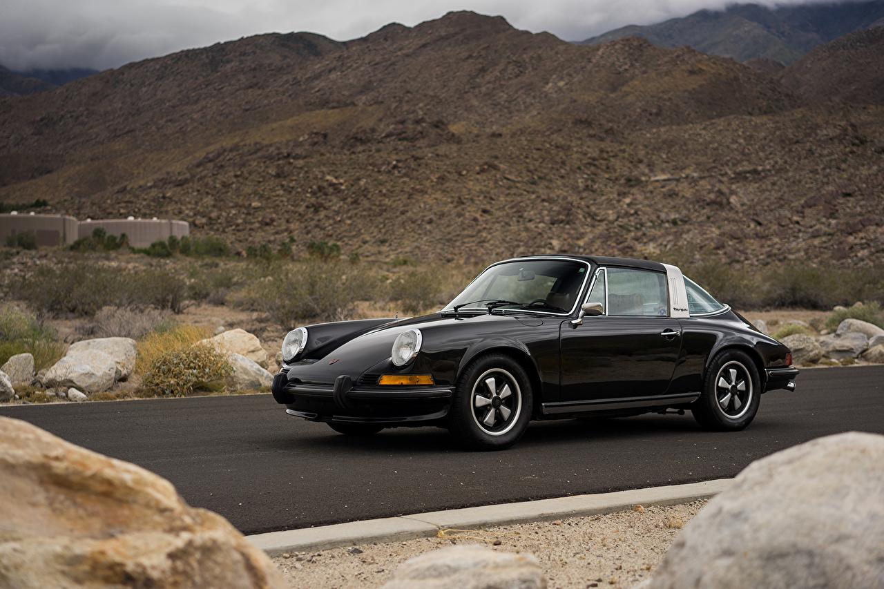 Обои Порше 1972–73 911 Е 2.4 Targa Ретро черные Металлик Автомобили Porsche черных Черный черная Винтаж старинные авто машина машины автомобиль