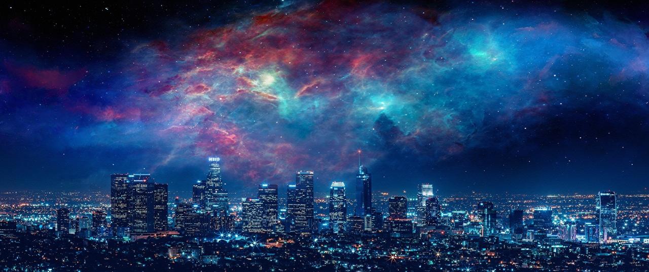 Картинка Лос-Анджелес США Мегаполис ночью Небоскребы Дома Города штаты мегаполиса Ночь в ночи Ночные город Здания